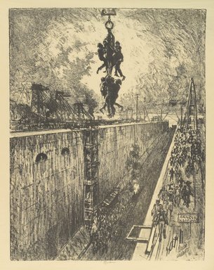 Joseph Pennell (American, 1860-1926). <em>The End of the Day, Gatun Lock</em>, 1912. Lithograph, composition: 21 7/16 x 16 9/16 in. (54.5 x 42 cm). Brooklyn Museum, Gift of William A. Putnam, 12.108 (Photo: Brooklyn Museum, 12.108_PS4.jpg)