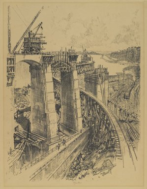 Joseph Pennell (American, 1860-1926). <em>Approaches to Gatun Lock</em>, 1912. Lithograph, composition: 22 7/16 x 16 3/4 in. (57 x 42.5 cm). Brooklyn Museum, Gift of William A. Putnam, 12.110 (Photo: Brooklyn Museum, 12.110_PS4.jpg)