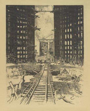 Joseph Pennell (American, 1860-1926). <em>The Gates of Pedro Miguel Lock</em>, 1912. Lithograph, composition: 21 5/8 x 16 9/16 in. (55 x 42 cm). Brooklyn Museum, Gift of the artist, 12.112 (Photo: Brooklyn Museum, 12.112_PS4.jpg)