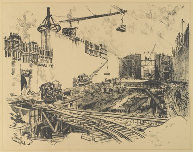Joseph Pennell (American, 1860-1926). <em>The Walls of Pedro Miguel Lock</em>, 1912. Lithograph, composition: 16 15/16 x 22 13/16 in. (43 x 57.9 cm). Brooklyn Museum, Gift of the artist, 12.113 (Photo: Brooklyn Museum, 12.113_PS4.jpg)