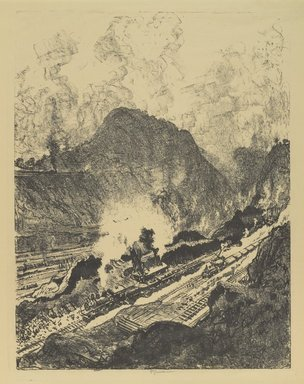 Joseph Pennell (American, 1860-1926). <em>The Cut from Culebra</em>, 1912. Lithograph, 21 5/8 x 16 5/8 in. (55 x 42.2 cm). Brooklyn Museum, Gift of William A. Putnam, 12.114 (Photo: Brooklyn Museum, 12.114_PS4.jpg)