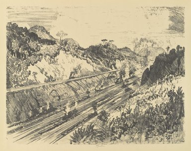 Joseph Pennell (American, 1860-1926). <em>Looking Up the Cut from Bas Opispo</em>, 1912. Lithograph, composition: 16 3/4 x 21 5/8 in. (42.5 x 55 cm). Brooklyn Museum, Gift of William A. Putnam, 12.115 (Photo: Brooklyn Museum, 12.115_PS4.jpg)
