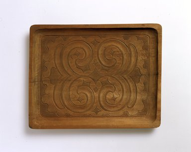 Ainu. <em>Light Oblong Tray</em>. Wood, 7/8 x 11 7/8 x 9 1/8 in. (2.2 x 30.1 x 23.2 cm). Brooklyn Museum, Gift of Herman Stutzer, 12.341. Creative Commons-BY (Photo: North American Ainu Documentation Project, Yoshiburo Kotani, 1990-92, 12.341_Ainu_project.jpg)