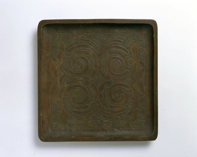 Ainu. <em>Square Tray</em>. Wood, 1 x 10 3/8 x 10 9/16 in. (2.6 x 26.4 x 26.9 cm). Brooklyn Museum, Gift of Herman Stutzer, 12.342. Creative Commons-BY (Photo: North American Ainu Documentation Project, Yoshiburo Kotani, 1990-92, 12.342_Ainu_project.jpg)