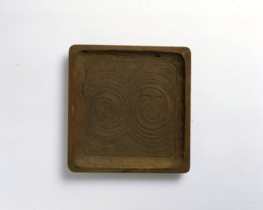Ainu. <em>Square Light Tray</em>. Wood, 7/8 x 7 15/16 x 8 1/4 in. (2.3 x 20.2 x 20.9 cm). Brooklyn Museum, Gift of Herman Stutzer, 12.350. Creative Commons-BY (Photo: North American Ainu Documentation Project, Yoshiburo Kotani, 1990-92, 12.350_Ainu_project.jpg)