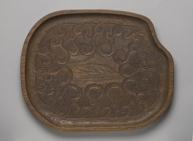 Ainu. <em>Tray</em>, late 19th - early 20th century. Wood, 15/16 x 13 1/16 x 10 3/8 in. (2.4 x 33.2 x 26.4 cm). Brooklyn Museum, Gift of Herman Stutzer, 12.353. Creative Commons-BY (Photo: Brooklyn Museum, 12.353_PS9.jpg)