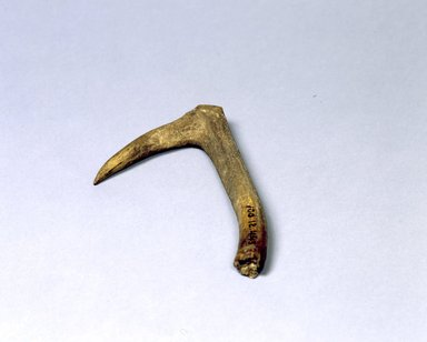 Ainu. <em>Hook Hanger</em>. Bone, 1 1/16 x 4 5/8 x 8 7/16 in. (2.7 x 11.7 x 21.4 cm). Brooklyn Museum, Gift of Herman Stutzer, 12.443. Creative Commons-BY (Photo: North American Ainu Documentation Project, Yoshiburo Kotani, 1990-92, 12.443_Ainu_project.jpg)