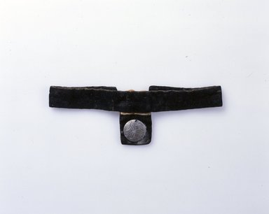 Ainu. <em>Woman's Neck Band</em>. Black velvet, cotton, metal, 2 3/4 x 16 9/16 in. (7 x 42 cm). Brooklyn Museum, Gift of Herman Stutzer, 12.477. Creative Commons-BY (Photo: North American Ainu Documentation Project, Yoshiburo Kotani, 1990-92, 12.477_Ainu_project.jpg)