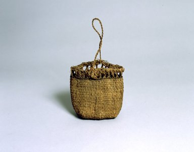 Ainu. <em>Bag</em>. Elm bark plaited, 8 5/16 x 8 1/16 in. (21.1 x 20.5 cm). Brooklyn Museum, Gift of Herman Stutzer, 12.507. Creative Commons-BY (Photo: North American Ainu Documentation Project, Yoshiburo Kotani, 1990-92, 12.507_Ainu_project.jpg)