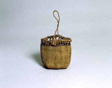 Ainu. <em>Bag</em>. Elm bark plaited, 8 5/16 x 8 1/16 in. (21.1 x 20.5 cm). Brooklyn Museum, Gift of Herman Stutzer, 12.507. Creative Commons-BY (Photo: North American Ainu Documentation Project, Yoshiburo Kotani, 1990-92, 12.507_Ainu_project.jpg)