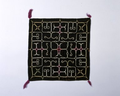 Ainu. <em>Ritual Square Cloth with Embroidered Patterns</em>. Silk, cotton, wool, 13 3/4 x 13 15/16 in. (35 x 35.4 cm). Brooklyn Museum, Gift of Herman Stutzer, 12.548. Creative Commons-BY (Photo: North American Ainu Documentation Project, Yoshiburo Kotani, 1990-92, 12.548_Ainu_project.jpg)