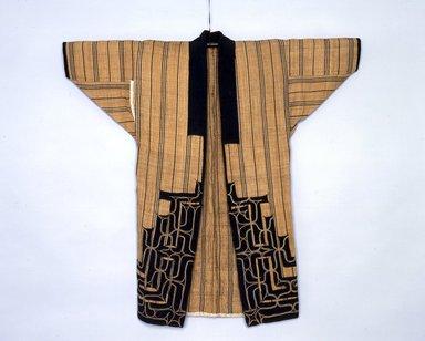 Ainu. <em>Woman's Robe or Kimono</em>. Cotton, elm bark, 42 1/8 x 44 7/8 in. (107 x 114 cm). Brooklyn Museum, Gift of Herman Stutzer, 12.549d. Creative Commons-BY (Photo: North American Ainu Documentation Project, Yoshiburo Kotani, 1990-92, 12.549d_view1_Ainu_project.jpg)