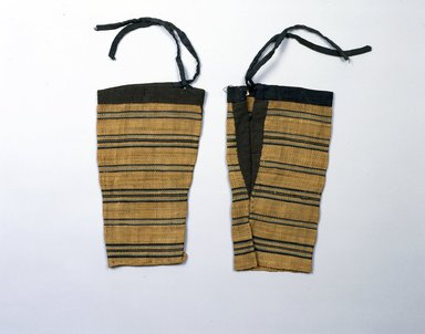 Ainu. <em>Leggings</em>. Cotton, elm bark, 11 13/16 x 6 7/8 in. (30 x 17.5 cm). Brooklyn Museum, Gift of Herman Stutzer, 12.549g-h. Creative Commons-BY (Photo: North American Ainu Documentation Project, Yoshiburo Kotani, 1990-92, 12.549g-h_Ainu_project.jpg)