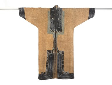 Ainu. <em>Man's Robe</em>, late 19th-early 20th century. Elm bark with cotton applique and silk embroidery, 57 7/8 x 58 in. (147 x 147.3 cm). Brooklyn Museum, Gift of Herman Stutzer, 12.567. Creative Commons-BY (Photo: Brooklyn Museum, 12.567_front_PS9.jpg)