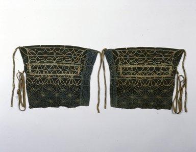 Ainu. <em>Leggings for Dead</em>. Cotton, 10 13/16 x 14 1/2 in. (27.5 x 36.9 cm). Brooklyn Museum, Gift of Herman Stutzer, 12.571a-b. Creative Commons-BY (Photo: North American Ainu Documentation Project, Yoshiburo Kotani, 1990-92, 12.571a-b_Ainu_project.jpg)
