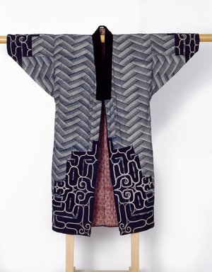 Ainu. <em>Man's Ceremonial Robe</em>. Cotton, silk, thread, embroidery, applique, 53 1/2 x 50 3/4 in. (135.9 x 128.9 cm). Brooklyn Museum, Gift of Herman Stutzer, 12.582. Creative Commons-BY (Photo: Brooklyn Museum, 12.582_front_edited_version_SL3.jpg)