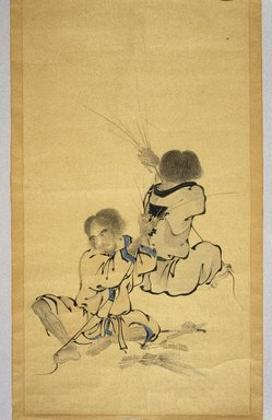 Ainu. <em>Making Straw Rope</em>, 19th century. Hanging scroll, ink and color on paper.  