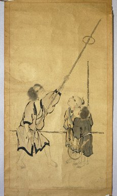 Ainu. <em>Children Playing a Game</em>, 19th century. Hanging scroll, ink and color on paper, 24 5/8 x 47 13/16 in. (62.5 x 121.5 cm). Brooklyn Museum, Gift of Herman Stutzer, 12.647.2 (Photo: Brooklyn Museum, 12.647.2_IMLS_SL2.jpg)