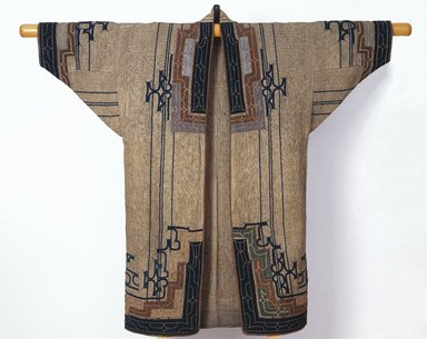 Ainu. <em>Woman's Robe</em>, late 19th-early 20th century. Elm bark fiber cloth (attush) with appliqué and embroidery, 49 5/8 x 52 3/8 in. (126 x 133 cm). Brooklyn Museum, Gift of Herman Stutzer, 12.690. Creative Commons-BY (Photo: Brooklyn Museum, 12.690_view2_SL1.jpg)