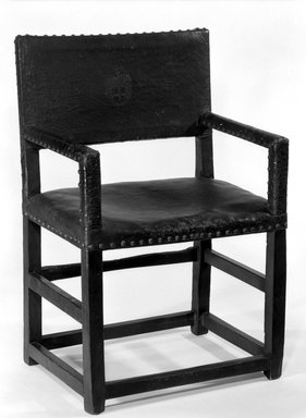 <em>Armchair</em>, 17th century. Leather, 38 x 24 7/16 x 17 11/16 in. (96.5 x 62 x 45 cm). Brooklyn Museum, Brookyln Museum Collection, 12.878. Creative Commons-BY (Photo: Brooklyn Museum, 12.878_bw.jpg)