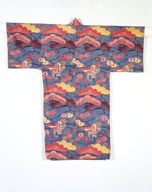 <em>Bingata Kimono</em>, late 19th century. Stencil-dyed cotton, 48 x 50 in. (121.9 x 127 cm). Brooklyn Museum, Brooklyn Museum Collection, 12.889. Creative Commons-BY (Photo: Brooklyn Museum, 12.889_transp5461.jpg)