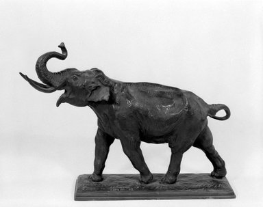 Alexander Phimister Proctor (American, 1862-1950). <em>Elephant, or The Call</em>, 1908. Bronze, 11 x 11 3/16 x 3 11/16 in., 11.2 lb. (27.9 x 28.4 x 9.4 cm, 5.08kg). Brooklyn Museum, Gift of George D. Pratt, 12.895. Creative Commons-BY (Photo: Brooklyn Museum, 12.895_bw.jpg)