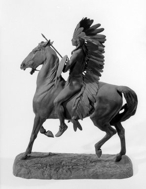Alexander Phimister Proctor (American, 1862-1950). <em>Indian Warrior</em>, 1898. Bronze, 19 1/4 x 14 3/4 x 4 1/2 in., 26.6 lb. (48.9 x 37.5 x 11.4 cm, 12.07kg). Brooklyn Museum, Gift of George D. Pratt, 12.898. Creative Commons-BY (Photo: Brooklyn Museum, 12.898_bw.jpg)