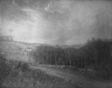 Franklin De Haven (American, 1856-1934). <em>Landscape</em>, ca. 1900. Oil on canvas, 23 7/8 x 30 3/16 in. (60.7 x 76.7 cm). Brooklyn Museum, Gift of Charles A. Schieren, 12.89 (Photo: Brooklyn Museum, 12.89_glass_bw.jpg)