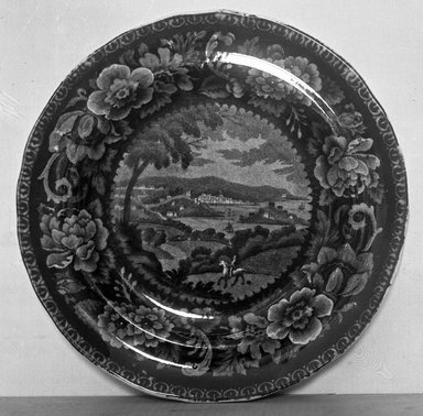 <em>Plate (Washington)</em>, ca. 1810. Earthenware, 7 3/4 in. (19.7 cm). Brooklyn Museum, Gift of Mrs. George D. Pratt, 12.900.16. Creative Commons-BY (Photo: Brooklyn Museum, 12.900.16_glass_bw.jpg)