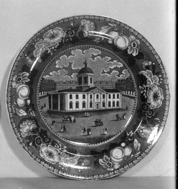 <em>Plate (Court House Baltimore)</em>, ca. 1835. Earthenware, 8 5/8 in. (21.9 cm). Brooklyn Museum, Gift of Mrs. George D. Pratt, 12.900.17. Creative Commons-BY (Photo: Brooklyn Museum, 12.900.17_glass_bw.jpg)