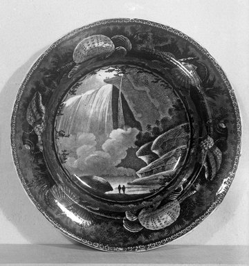 Enoch Wood & Sons (active 1818-1846). <em>Soup Plate (Table Rock Niagara) (Blue)</em>, ca. 1820. Earthenware, 10 in. (25.4 cm). Brooklyn Museum, Gift of Mrs. George D. Pratt, 12.900.23. Creative Commons-BY (Photo: Brooklyn Museum, 12.900.23_glass_bw.jpg)