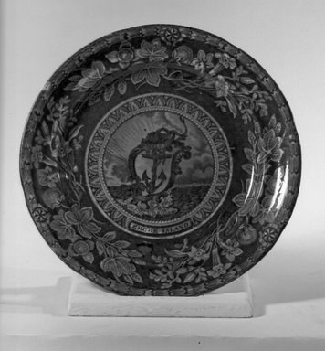 T. Mayer. <em>Plate (Rhode Island)</em>, ca. 1830. Earthenware, 8 5/8 in. (21.9 cm). Brooklyn Museum, Gift of Mrs. George D. Pratt, 12.900.26. Creative Commons-BY (Photo: Brooklyn Museum, 12.900.26_acetate_bw.jpg)
