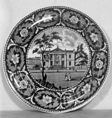J. & W. Ridgway (1814-1830). <em>Plate (Library Philadelphia)</em>, ca. 1820. Earthenware, 8 1/8 in. (20.6 cm). Brooklyn Museum, Gift of Mrs. George D. Pratt, 12.900.27. Creative Commons-BY (Photo: Brooklyn Museum, 12.900.27_glass_bw.jpg)