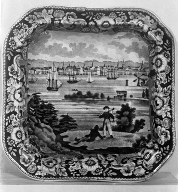 Andrew Stevenson (1808-1829). <em>Roast Dish (New York from Heights Brooklyn)</em>, ca. 1825. Earthenware, 9 5/8 in. (24.4 cm). Brooklyn Museum, Gift of Mrs. George D. Pratt, 12.900.3. Creative Commons-BY (Photo: Brooklyn Museum, 12.900.3_glass_bw.jpg)
