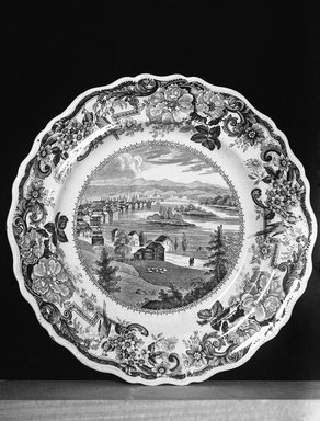 Clews Warrented Staffordshire. <em>Plate (Troy from Mount Ida, Hudson River)</em>, ca. 1829-1836. Earthenware, 10 1/2 in. (26.7 cm). Brooklyn Museum, Gift of Mrs. George D. Pratt, 12.900.9. Creative Commons-BY (Photo: Brooklyn Museum, 12.900.9_glass_bw.jpg)