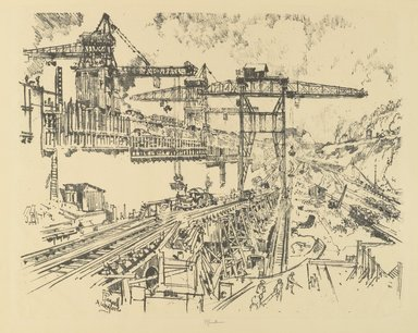 Joseph Pennell (American, 1860-1926). <em>The Walls of Miraflores Lock</em>, 1912. Lithograph, composition: 16 3/4 x 20 7/8 in. (42.5 x 53 cm). Brooklyn Museum, Gift of William A. Putnam, 12.97 (Photo: Brooklyn Museum, 12.97_PS4.jpg)