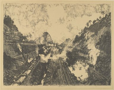 Joseph Pennell (American, 1860-1926). <em>The Cut.  Looking Toward Ancon Hill</em>, 1912. Lithograph, composition: 16 13/16 x 22 1/16 in. (42.7 x 56 cm). Brooklyn Museum, Gift of William A. Putnam, 12.98 (Photo: Brooklyn Museum, 12.98_PS4.jpg)