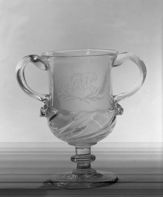 <em>Goblet with Two Handles</em>, 1690-1810. Glass, 8 x 4 3/4 in. (20.3 x 12.1 cm). Brooklyn Museum, Purchased by Special Subscription and Museum Collection Fund, 13.1013. Creative Commons-BY (Photo: Brooklyn Museum, 13.1013a_view1_acetate_bw.jpg)