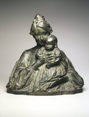 Bessie Potter Vonnoh (American, 1872-1955). <em>Modern Madonna</em>, 1904. Bronze, 15 1/8 x 15 x 8 1/2 in., 19 lb. (38.4 x 38.1 x 21.6 cm, 8.62kg). Brooklyn Museum, Gift of the artist, 13.1062. Creative Commons-BY (Photo: Brooklyn Museum, 13.1062_transp4446.jpg)