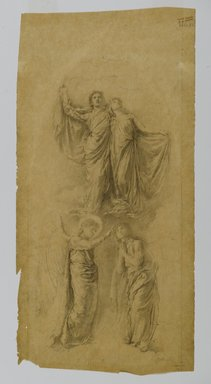 "John La Farge (American, 1835-1910). <em>Study for ""Sealing of the Twelve Tribes"" Window</em>, ca. 1889. Graphite on yellow, translucent, smooth textured wove paper, sheet (Irregular): 16 3/8 x 8 in. (41.6 x 20.3 cm). Brooklyn Museum, Gift of George D. Pratt, 13.1063 (Photo: Brooklyn Museum, 13.1063_PS2.jpg)"