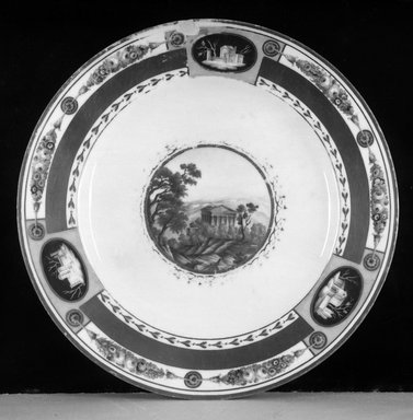 "Imperial Factory. <em>Plate: ""Ruins of Agigentum, Sicily,""</em> 1801-1825. Porcelain, 1 3/16 x 9 5/8 in. (3 x 24.4 cm). Brooklyn Museum, Gift of Reverend Alfred Duane Pell, 13.1075. Creative Commons-BY (Photo: Brooklyn Museum, 13.1075_glass_bw.jpg)"