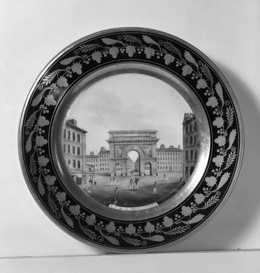 Darte Feres. <em>Plate</em>, 1800-1825. Porcelain, 1 1/4 x 9 3/8 in. (3.2 x 23.8 cm). Brooklyn Museum, Gift of Reverend Alfred Duane Pell, 13.1076.14. Creative Commons-BY (Photo: Brooklyn Museum, 13.1076.14_acetate_bw.jpg)