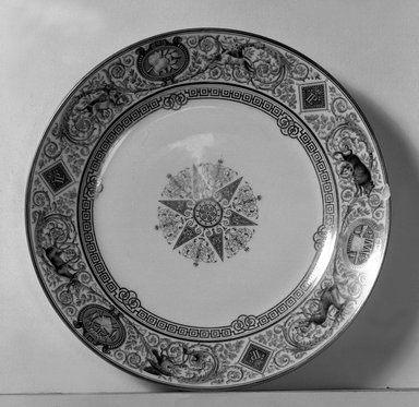 Sevres. <em>Plate</em>, 1838. Porcelain, 1 5/16 x 9 5/8 in. (3.3 x 24.4 cm). Brooklyn Museum, Gift of Reverend Alfred Duane Pell, 13.1076.30. Creative Commons-BY (Photo: Brooklyn Museum, 13.1076.30a_acetate_bw.jpg)