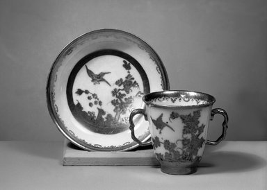 Meissen Porcelain Factory (German, founded 1710). <em>Cup and Saucer</em>, ca. 1724-1730. Porcelain, Cup: 2 7/8 x 3 in. (7.3 x 7.6 cm). Brooklyn Museum, Gift of Reverend Alfred Duane Pell, 13.1076.3a-b. Creative Commons-BY (Photo: Brooklyn Museum, 13.1076.3a-b_acetate_bw.jpg)