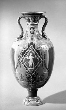 Mintons Ltd.. <em>Vase</em>, ca. 1890. Glazed earthenware, 16 x 5 in. (40.6 x 12.7 cm). Brooklyn Museum, Gift of Reverend Alfred Duane Pell, 13.1076.7. Creative Commons-BY (Photo: Brooklyn Museum, 13.1076.7_bw.jpg)