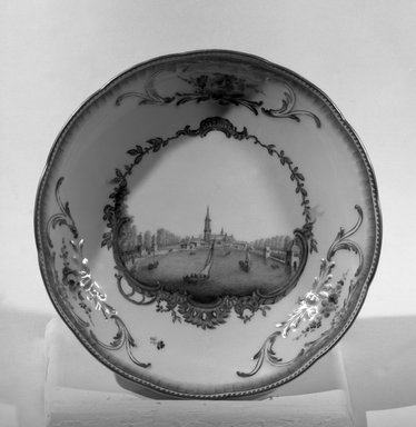 Meissen Porcelain Factory (German, founded 1710). <em>Saucer</em>, 1763-1774. Porcelain, 1 5/16 x 6 3/8 in. (3.3 x 16.2 cm). Brooklyn Museum, Gift of Reverend Alfred Duane Pell, 13.1077.3. Creative Commons-BY (Photo: Brooklyn Museum, 13.1077.3_acetate_bw.jpg)