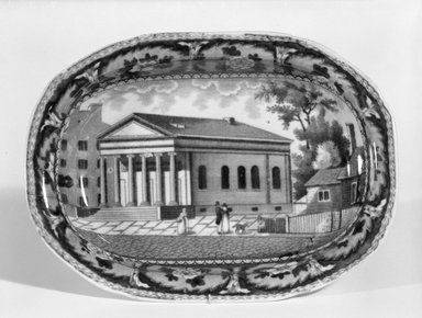 J. & W. Ridgway (1814-1830). <em>Shallow Dish</em>, ca. 1830. Earthenware, 7 1/2 x 5 1/2 in. (19.1 x 14 cm). Brooklyn Museum, Gift of Mrs. George D. Pratt, 13.1079.3. Creative Commons-BY (Photo: Brooklyn Museum, 13.1079.3_bw.jpg)