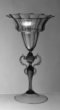 <em>Loving Cup with Two Handles</em>, probably 19th century. Smoky glass, 10 1/4 x 5 3/4 (of rim) in. (26 x 14.6 cm). Brooklyn Museum, Museum Special Fund, 13.1080.30. Creative Commons-BY (Photo: Brooklyn Museum, 13.1080.30_acetate_bw.jpg)
