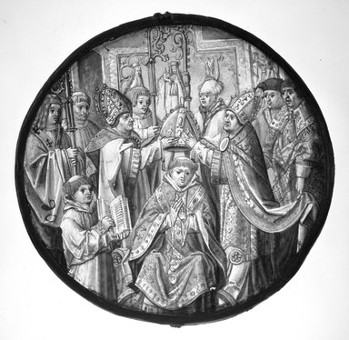 <em>Roundel depicting Consecration of a Bishop</em>, 1510-1520. Stained and enamelled glass, Diameter: 7 5/8 in. Brooklyn Museum, Henry L. Batterman Fund and Special Contributions, 13.1083. Creative Commons-BY (Photo: Brooklyn Museum, 13.1083_bw.jpg)