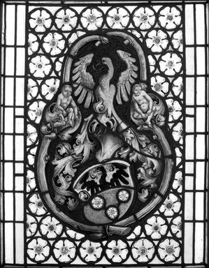 <em>Window depicting Armorial Insignia</em>, ca. 1520. Stained glass, Overall height: 30 1/2 in. Brooklyn Museum, Gift of George D. Pratt, 13.1087. Creative Commons-BY (Photo: Brooklyn Museum, 13.1087_view1_bw.jpg)